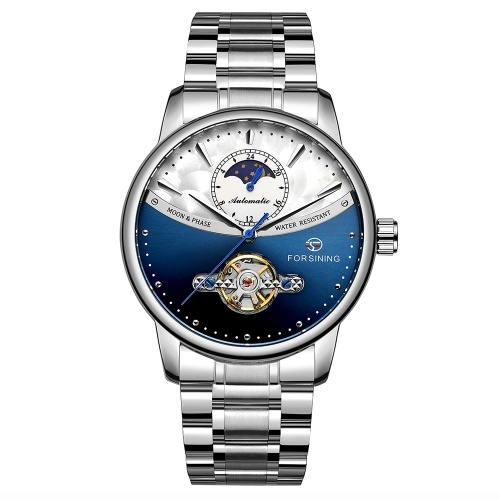 FORSINING 339 Tourbillon Moon Phase Wind-up Movement Mechanical Men Watch