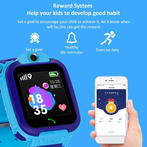 TR5-3 Children Smart Watch 1.54-inch LCD Touchsreen IPX67 Waterproof 2-way communication ROM 32MB+RAM 32MB LBS Positioning 10W Camera Android OS Weather Alarm Activity Tracker Sports Smartwatch with Micro SIM Card Slot Silicone Strap Band