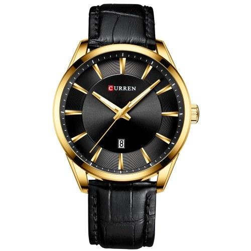 Уиллис 8365 Кварцевые мужские наручные часы для мужчин с кожаным ремешком с ремешком для календаря Индикатор даты Водонепроницаемые мужские часы Носимые аксессуары