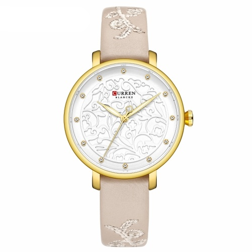 CURREN 9046 Quartz Women Wristwatch Carved Flower Embroidered Style Watch for Ladies Womens Watches with Leatherette PU Strap Stainless Steel Band Waterproof Wearable Accessories