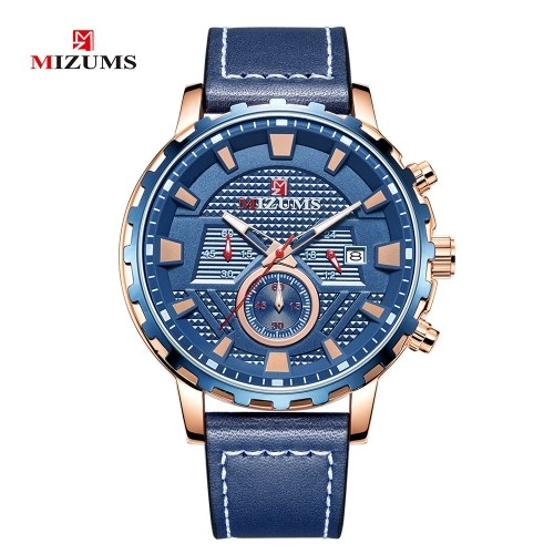 MIZUMS Men Business Watch Fashion Alloy Case Leather Band Watch Exquisite 3 ATM Waterproof Quartz Wrist Watch