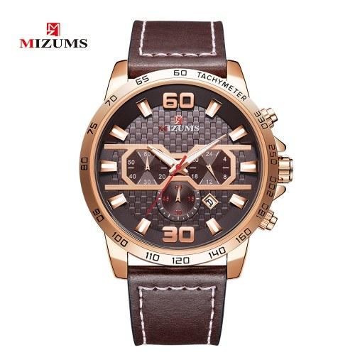 MIZUMS Homens Relógio de Negócios Moda Liga Caso Pulseira de Couro Relógio Requintado 3 ATM Relógio de Pulso de Quartzo À Prova D 'Água
