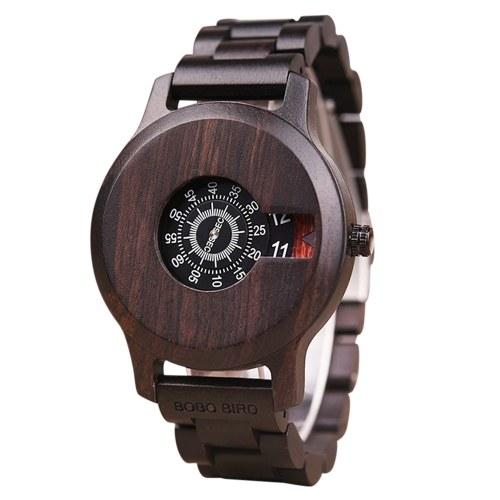 BOBO BIRD Orologio in legno Orologio da polso al quarzo Display cronografo retrò casual con data