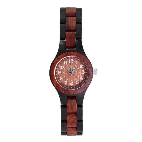 Montre en bois pour femme REDEAR montre à Quartz analogique bois de santal léger classique montres décontractées montre-bracelet Vintage
