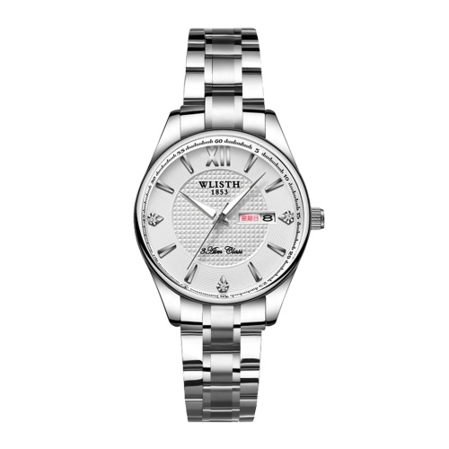 WLISTH S901 Stylish Classic Couple Watch Multifunctional His and Hers Quartz Wrist Watch Business Casual Dress Watch for Men Women with Calendar/Luminous/30M Waterproof Stainless Steel Strap
