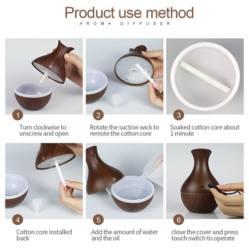 130ml Ultrasound Aroma Diffuser Creative Vase Wood Mini Mute USB Air Humidifier Household Humidifier Bedroom Essential Oil Aromatherapy Machine for Home Office (Light-color Wood Grain Seven-color Light)