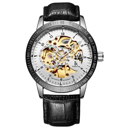 IK KOLORYSTYKA Dzienne Wodoszczelność Oryginalny skórzany pasek Automatic mechaniczny zegarek na rękę szkieletu przejrzysty Hollow