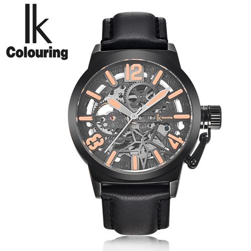 IK que colorean el cuero auténtico reloj mecánico transparente automático ahuecado Esqueleto de pulsera