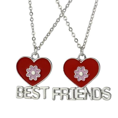 2pcs corazones de melocotón rojo y flores combinación collares Set 'mejores A amigos' colgantes con langosta corchete de la joyería fina personalizada regalo 45cm