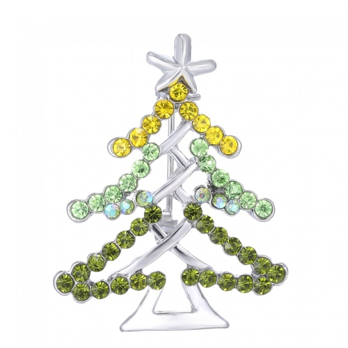 Nueva moda brillantes diamantes de imitación árbol de Navidad estrellas broche Collar Clip Pin ropa bufanda accesorio hebilla agradable regalo de vacaciones