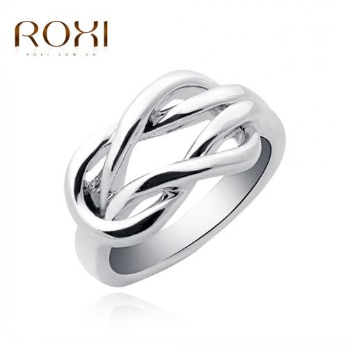 ROXI moda oro blanco esquina plateado hebilla anillo liso boda compromiso accesorio de la joyería para las mujeres de novia