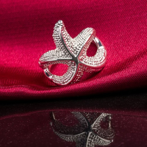 ROXI Fashion Silver Plated Alloy Beautiful Starfish Ring Women Bride Wedding Engagement Jewelry Accessory
