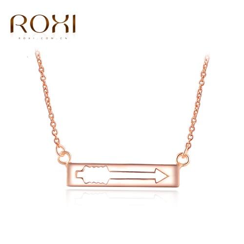 Chapado en oro rosa ROXI mujeres moda flecha encanto colgante collar niña novia joyas accesorio regalo de boda