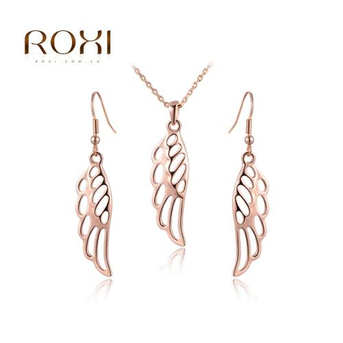 ROXI la mujer vestido de novia accesorios moda hueco del ala del ángel encanto colgante collar pendiente regalo Set joyería de fiesta de boda