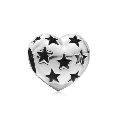 Romacci S925 plata corazón estrella hueco forma encanto grano para 3mm cadena pulsera brazalete collar moda Europea las mujeres joyería