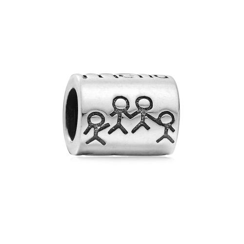 Romacci S925 plata moda amigos cilindro forma grano encanto para 3mm serpiente cadena pulsera brazalete accesorio de la joyería DIY de las mujeres