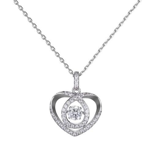 JURE moda S925 prata esterlina rotativo Zirconia faísca pingente em forma de coração colar de 18 polegadas