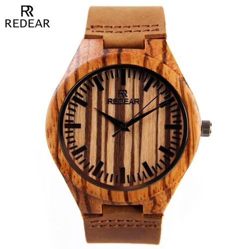 REDEAR Relógio de pulso natural de quartzo de madeira
