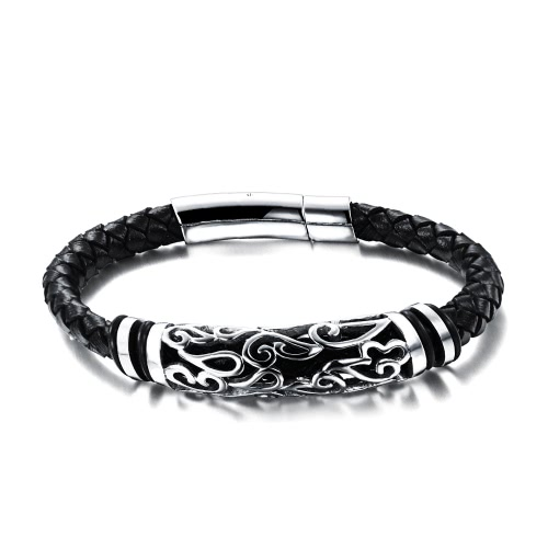 New Unique Men Male Genuine Leather Woven Bracelet Stainless Steel Charm Bangles Rope Bangle Wristband Fashion Jewelry for Party Gift