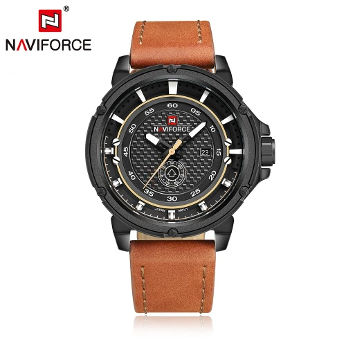 NAVIFORCE Waterproof PU Wristband Week Calendar Men's Quartz Watch