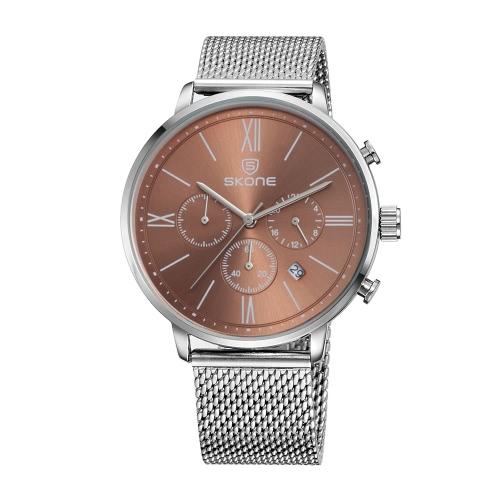 SKONE de 2016 completa los hombres del acero del reloj de la manera ocasional a estrenar de lujo a prueba de agua Calendario Mans negocios vestido reloj W / Sub-diales