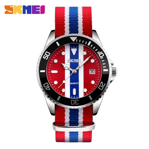 SKMEI Marke Art und Weise England-Art-Nylonband Men & Women Casual Armbanduhr Quarz-wasserdichte Uhren des Geliebten Kleid-Uhr-Kalender Feminio Masculino Relogio