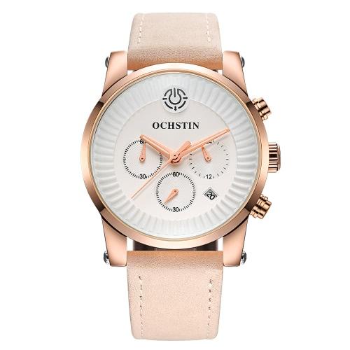 OCHSTIN 2017 Luxus-Marken-echtes Leder Luminous-Mann-Uhren Quarz Analog 30M Water-Proof Mann, der beiläufige Armbanduhr-beste Geschenk-Box +