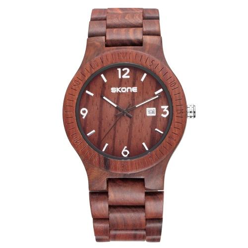 SKONE neue Art- und Weiseausgezeichnete leuchtende natürliche hölzerne Uhr für Mann-Quarz-analoges Weinlese-Mann-hölzernes beiläufiges Armbanduhr-bestes Geschenk