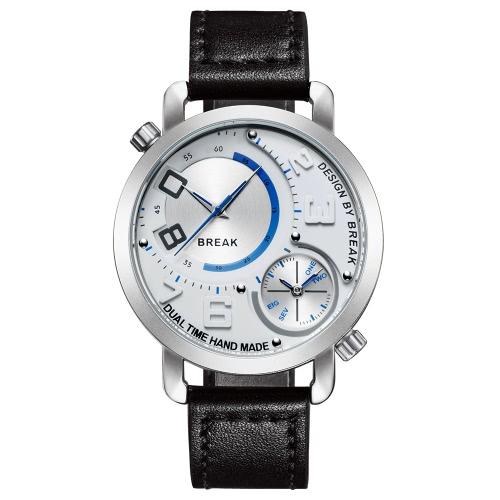 BREAK Fashion Innovative Dual Time Display Quartz Men Watches Luxury PU Leather 30M Water-Proof Man Casual Wristwatch Best Gift + Box