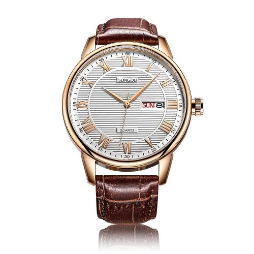 SONGDU 2017 Antike Luxus-echtes Leder-Quarz-Männer beiläufiger Uhr-Kalender 30M Wasser-Beweis Mann-Geschäfts-Armbanduhr + Kasten