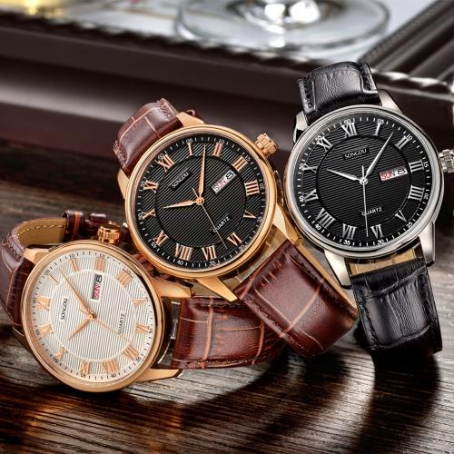 SONGDU 2017 Antique Luxury Genuine Leather Quartz Men casual Watch Calendar 30M Water-Proof Man Business Wristwatch + Box