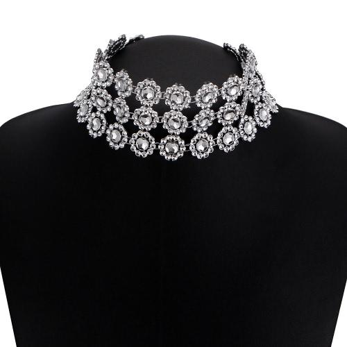 Moda hueco cristalino de acrílico de múltiples capas Collar Collar Choker Rhinestone retro Collar Collar Mujeres accesorio de regalo de joyería