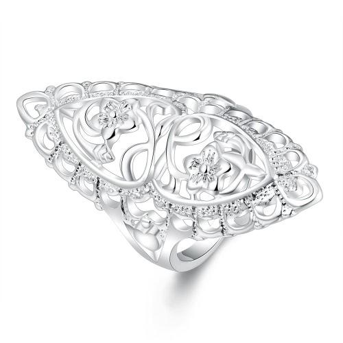 Moda Popularne Słodkie 925 Sterling Srebro wypełnione Hollow Wielki Pierścień Ladies Finger Biżuteria Prezent dla Kobiet Dziewcząt