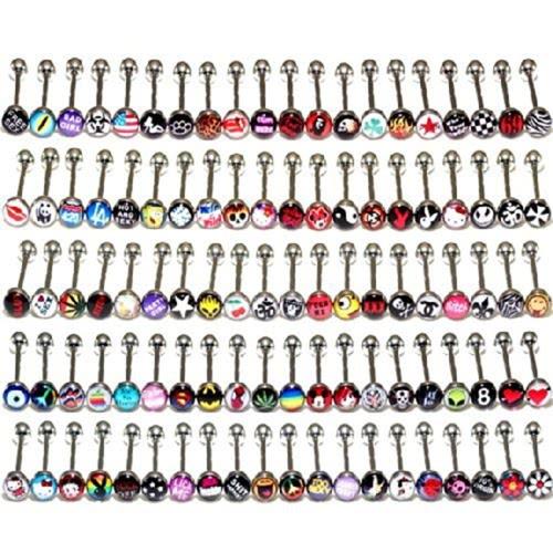 30Pcs New Fashion Jewelry Metal Piercing Tongue Rings Barras de aço inoxidável Barbells Jóias de corpo engraçado