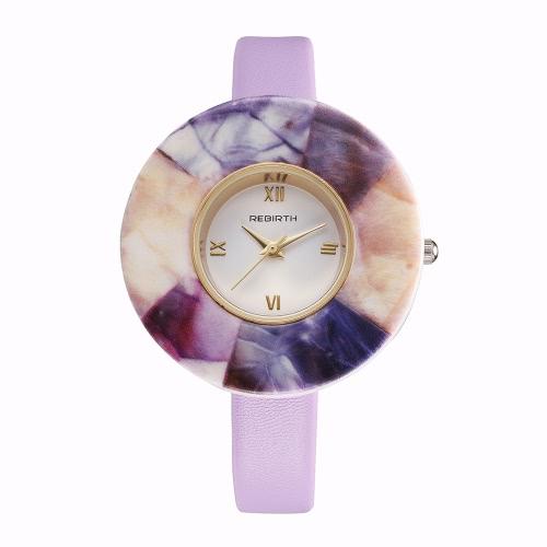 REBIRTH Markenart und weise PU-lederner Quarz-Frauen-Uhr-Marmorkasten-wasserdichte Damen-beiläufige Armbanduhr Sweety Art-Armband-Uhr
