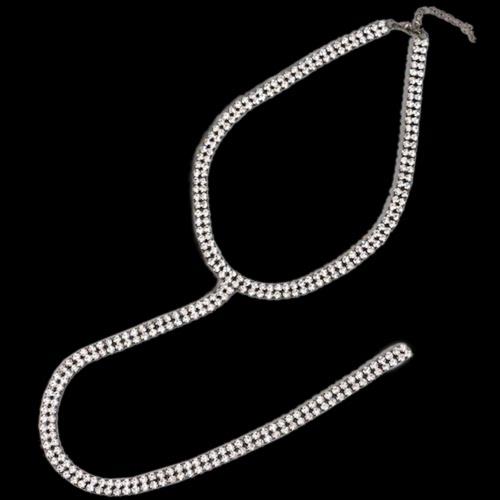 Collar largo atractivo del ahogador del Rhinestone Joyería Doble-secuencia acodado Piedras del ahogador Piedras cristalinas del collar largo de los ahogadores