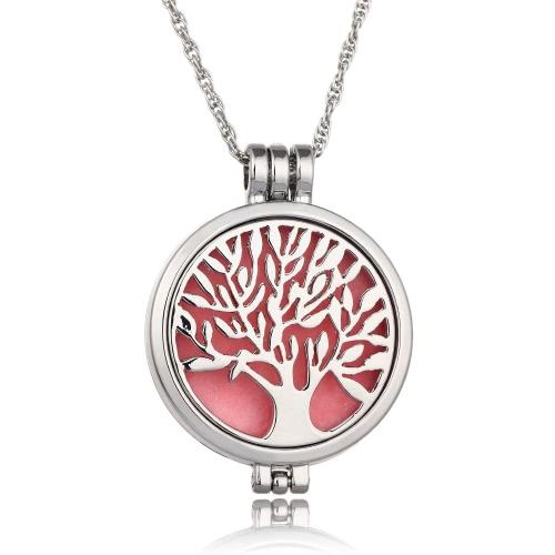 Jóias Delicadas Colar de Aromaterapia Árvore de Vida Padrão Locket Pendant Colar Difusor Difusor