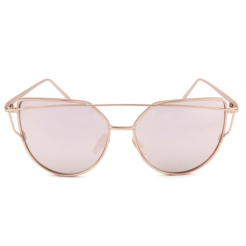 Color Película Ojo de gato Mirrored Lentes planas Street Fashion Polarized Metal Frame Hombres Mujeres Gafas de sol
