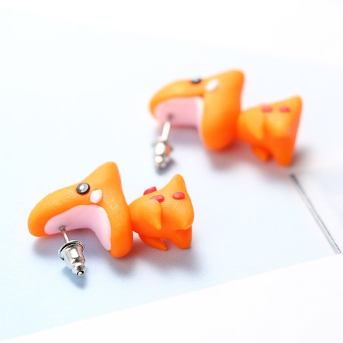 Moda Tyrannosaurus Rex Stud Ear Earrings Handmade Polymer Clay Cartoon Small Orange Dinosaur Earrings