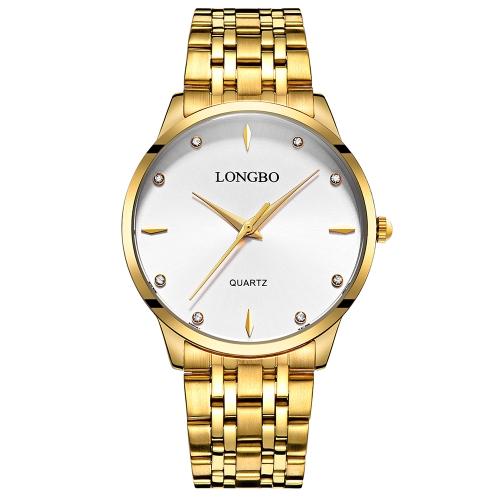 LONGBO Relojes de pulsera de lujo de acero inoxidable de diamantes reloj de pulsera a prueba de agua para hombres Reloj de mujer amante de la moda + caja de regalo