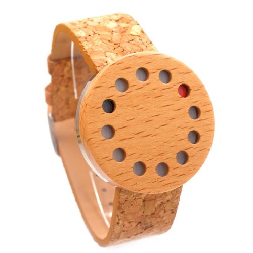 BOBOBIRD Reloj de madera casual de moda Reloj de cuarzo unisex Corcho Reloj de arce Hombres Mujeres Relogio Musculino Feminino