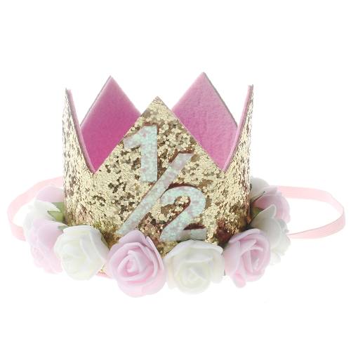 New Flower Crown Children Baby Headwear Hair Band Newborn Child Princess Crown for Birthday Party