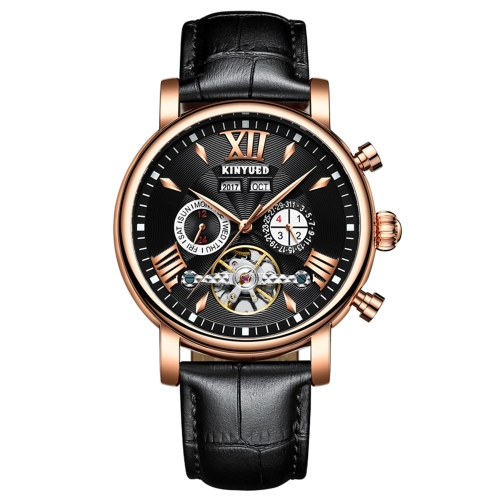 KINYUED Luxury Skeleton Self Wind Automatic Mechanical Men Watch