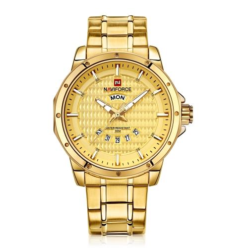 NAVIFORCE Fashion Luminous Quartz Men Casual reloj de pulsera a prueba de agua de acero inoxidable hombre de negocios reloj Masculino Relogio + caja