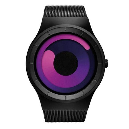 GEEKTHINK 6002 Новые кварцевые часы Роскошные нержавеющие стальные сетчатые ремни Мужские и женские подарки Прохладный стальной ремешок с поворотным циферблатом