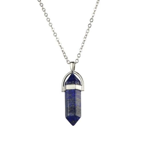 Moda Mujer Joyería de La Muchacha Collar de Piedras Preciosas Piedra Natural Hexagonal Acentuado Reiki Chakra Colgante Collar de Cristal Cadena 1 #