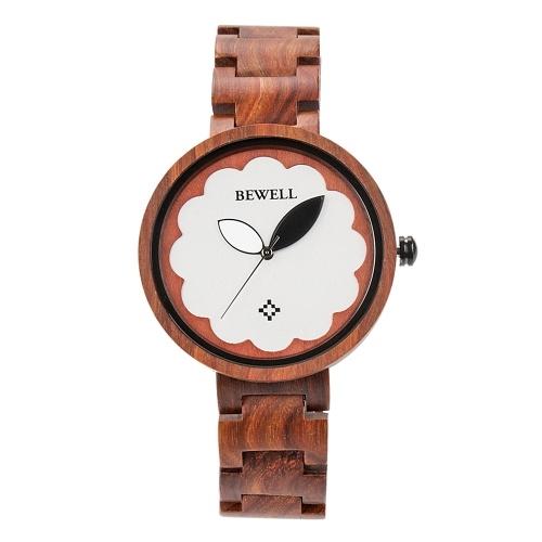 BEWELL ZS-W152A Femmes Bois Montre Quartz Rond Mouvement Vintage Occasionnel Montre-Bracelet Analogique