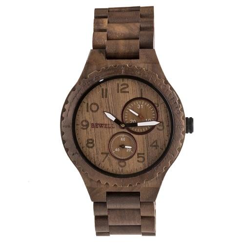 BEWELL ZS-W154A Hommes Bois Montre Quartz Mouvement Chronomètre Date Lumineux Vintage Analogique Montre-Bracelet
