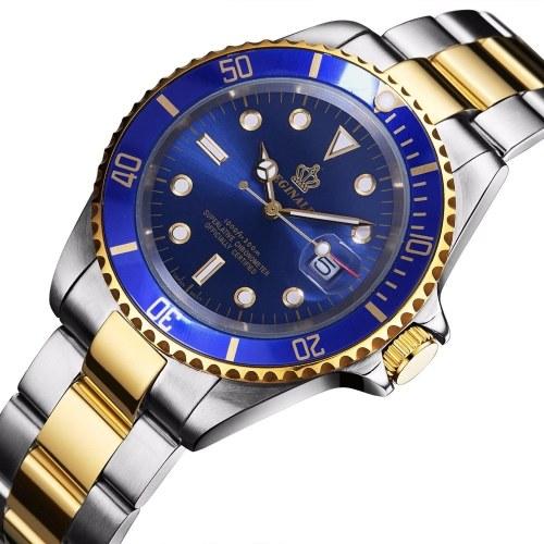 Hombres moda de lujo de negocios casual reloj de pulsera masculino banda de acero inoxidable deporte reloj de cuarzo