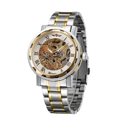 Orologio da uomo in acciaio inossidabile di lusso con cinturino in pelle, orologio da scheletro meccanico casual, orologio da polso a mano